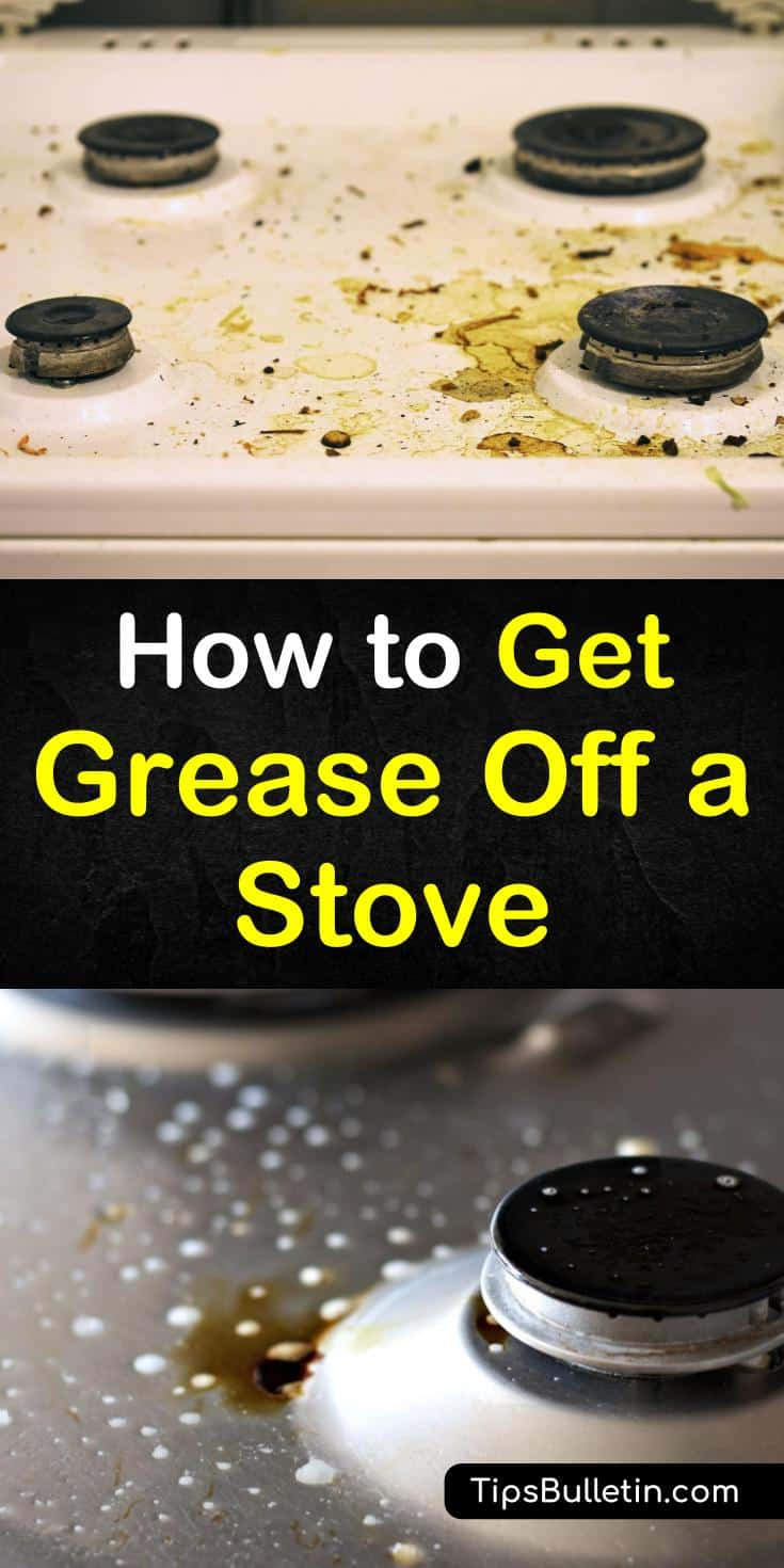 We've got some great tips on how to remove grease from the stove top, burners, range hoods, and even kitchen cabinets. You can even make baking soda and white vinegar cleaning scrubs to clean stainless steel. #cleangreaseoffstove #grease #stove