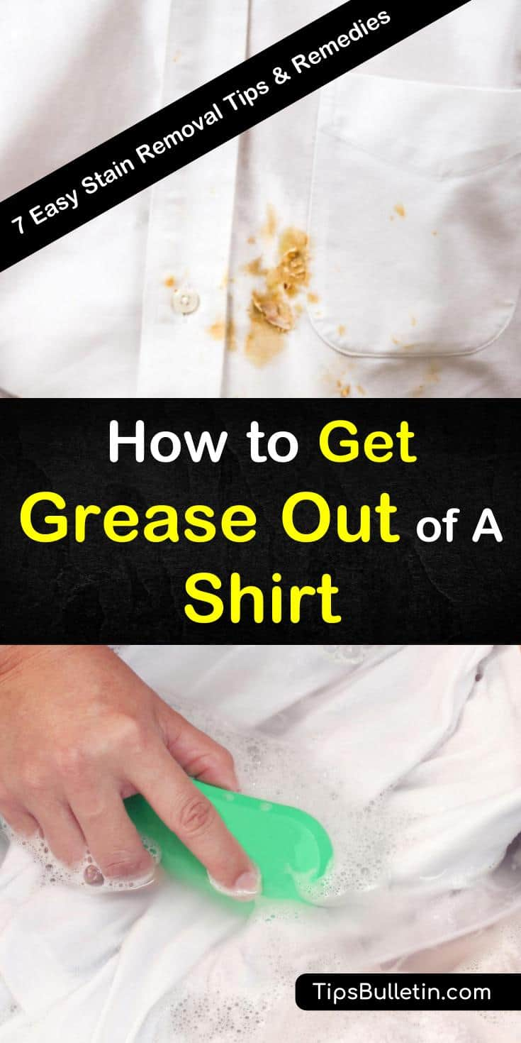 Learn the best methods for how to get grease out of a shirt. Use cleaning products like dishwashing liquid and baking soda to remove oil stains from clothing. Try new methods to remove grease spots with unlikely products, such as hairspray or baby powder. #grease #out #shirt #remover #oilstains