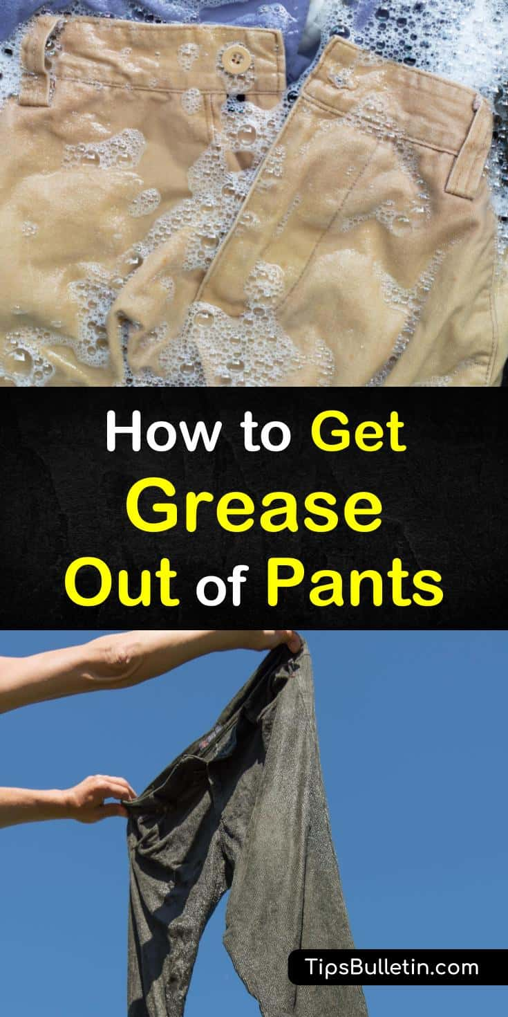 Grease and oil stains happen when you least expect them to. Learn how to remove unsightly grease stains using common ingredients like baking soda and vinegar from your clothing. #greasestains #pants #laundry