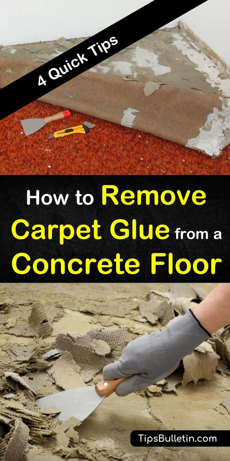 Get yourself out of a sticky situation by knowing how to remove carpet glue from a concrete floor. Try simple solutions to remove adhesive from concrete with boiling water and scrapers. You can even use acetone or WD-40 to remove tough mastic from subfloors. #remove #carpet #glue #concrete #floor