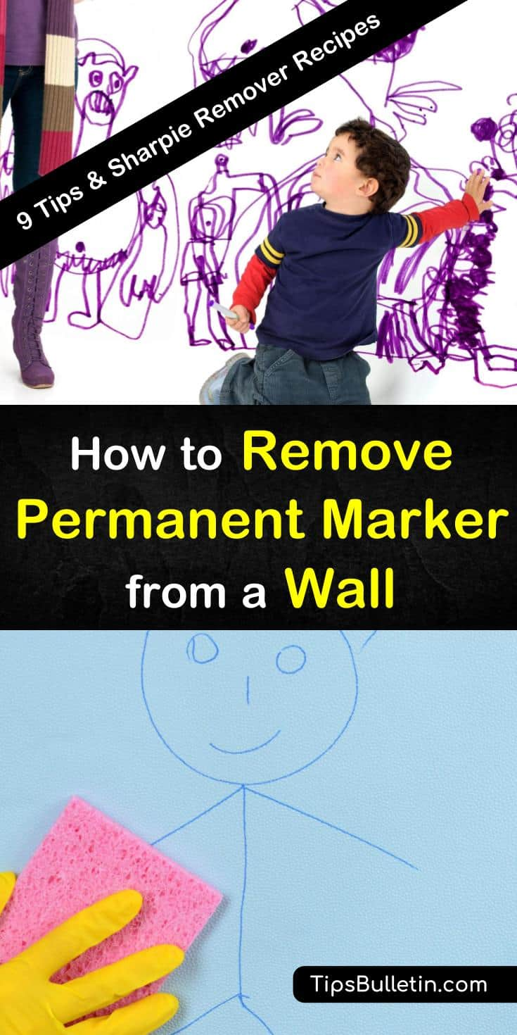 Discover nine ways to remove permanent marker from walls and various other surfaces in your home with this guide. This guide is full of tips and tricks for removing these marker stains with solutions from Magic Erasers to toothpaste. #wall #permanentmarker #marker