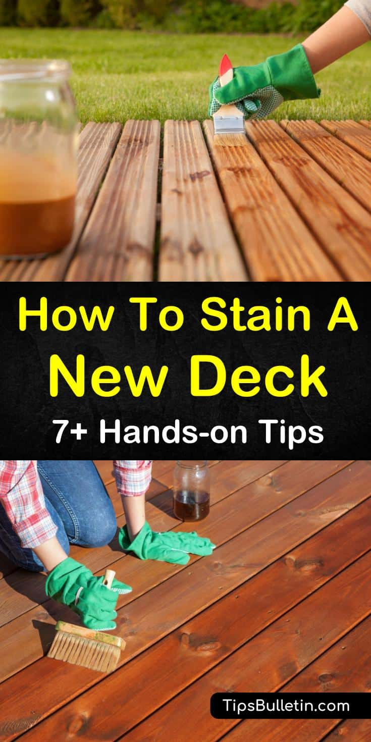 Not staining a new deck could be one of the worst mistakes a homeowner can make. Using the right stain and method, you can easily stain that deck using a paintbrush or paint roller to protect it from the elements. #deckstaining #staining #deck #howtostainadeck
