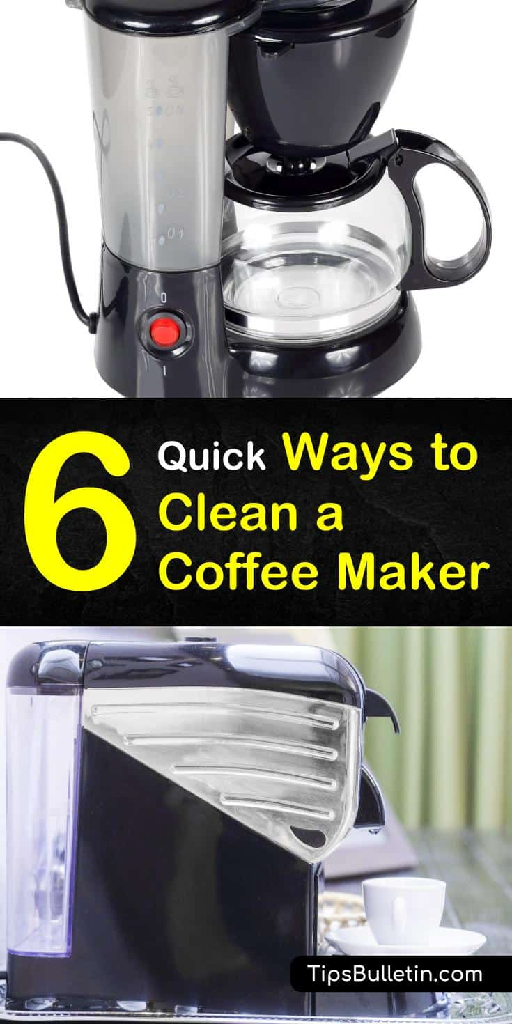 Learn how to deep clean a coffee maker and hot plate burner with vinegar and baking soda, and with lemon juice. We've also got handy tips for cleaning a Keurig with denture tablets. #cleanacoffeemaker #coffeemakercleaner #howtocleanakeurig
