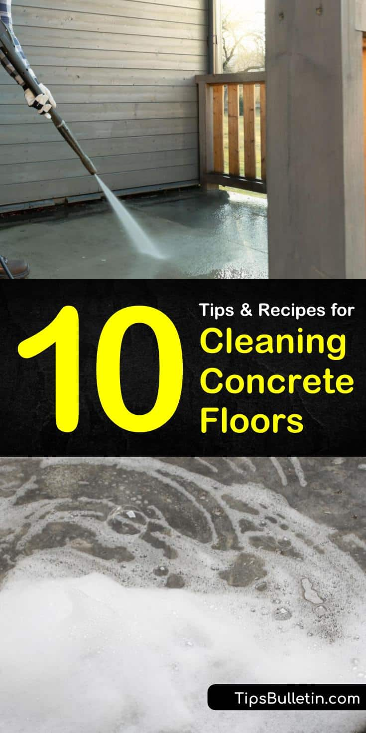 Try any of these tips for cleaning concrete floors using DIY recipes and solutions. Learn how to use sealants to protect floors in your basements and living spaces. Discover a new method for how to remove stains from cement and patios using Simple Green. #cleaning #concrete #floors