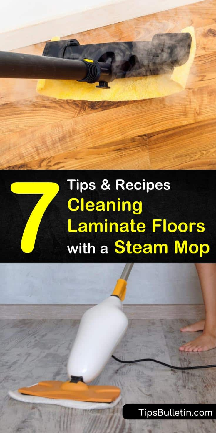 Learn the best way to deep clean your laminate floors with a steam mop! Our tips and cleaner recipes will bring back the shine to your floors and get them sparkling again! #steammop #laminatefloors #steamcleaning