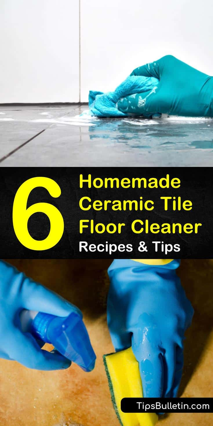 Here are a few DIY ceramic tile floor cleaning solutions that use everyday household items. Use dish soap, white vinegar, and baking soda to bring the shine back to your tiled floors in a few easy steps. #cleaner #ceramic #ceramiccleaner
