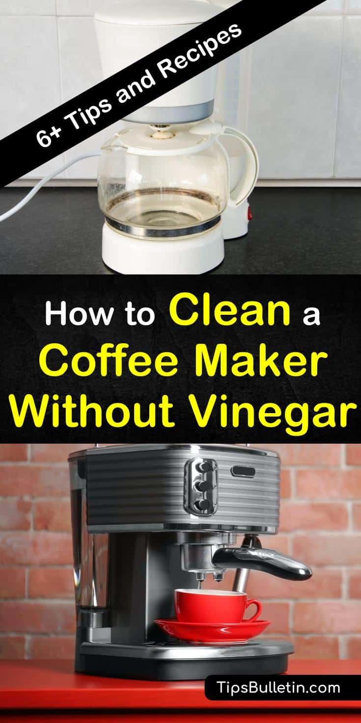 Discover the best methods for how to clean a coffee maker without vinegar. If you're out of your favorite cleaner, try baking soda or hydrogen peroxide instead. Toss in some Alka Seltzer tablets or Borax for a deep clean that leaves your coffee tasting great! #clean #coffeemaker #vinegar