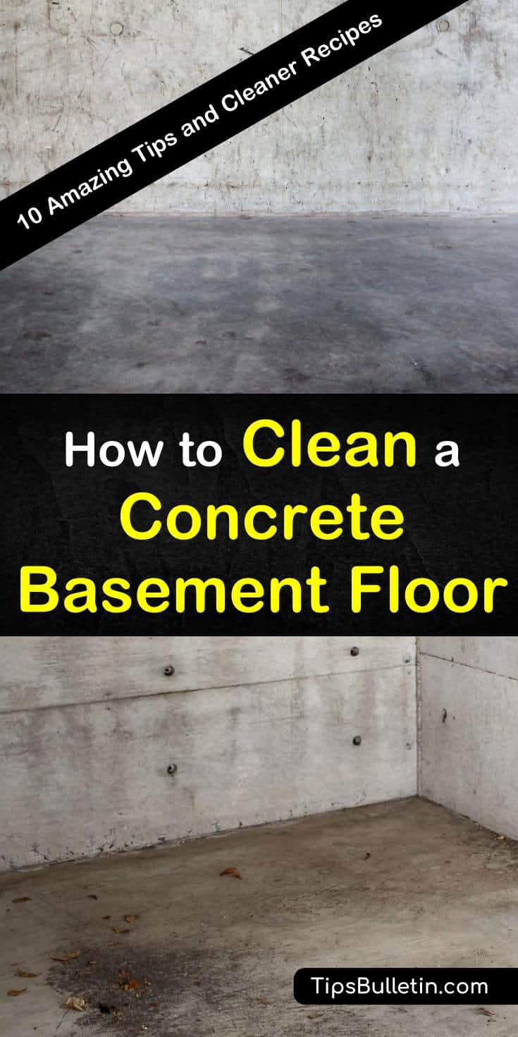 Basements are living spaces most people tend to forget. We show you how to remove stains using powdered bleach and remove odors using baking soda. Our DIY cleaners can also be used on garage and patio concrete floors. #cleanconcrete #cleanbasementfloor #basementfloorcleaner