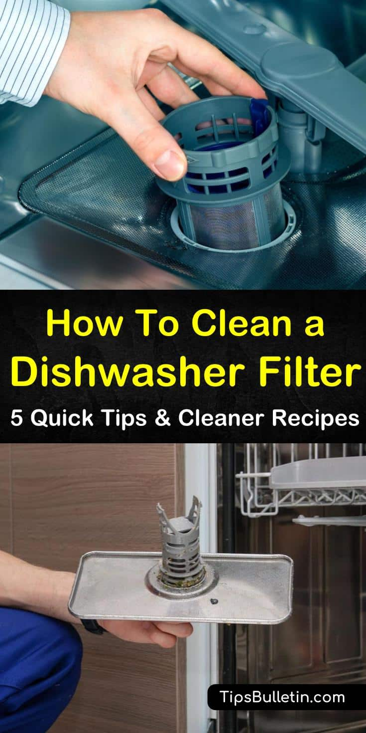 Try these amazing DIY methods for how to clean a dishwasher filter. Use ingredients like vinegar for a deep clean and to reduce the smell. Keep your dishes free of hard water spots and food particles by regularly cleaning your filter with soap or baking soda. #clean #dishwasher #filter #DIY