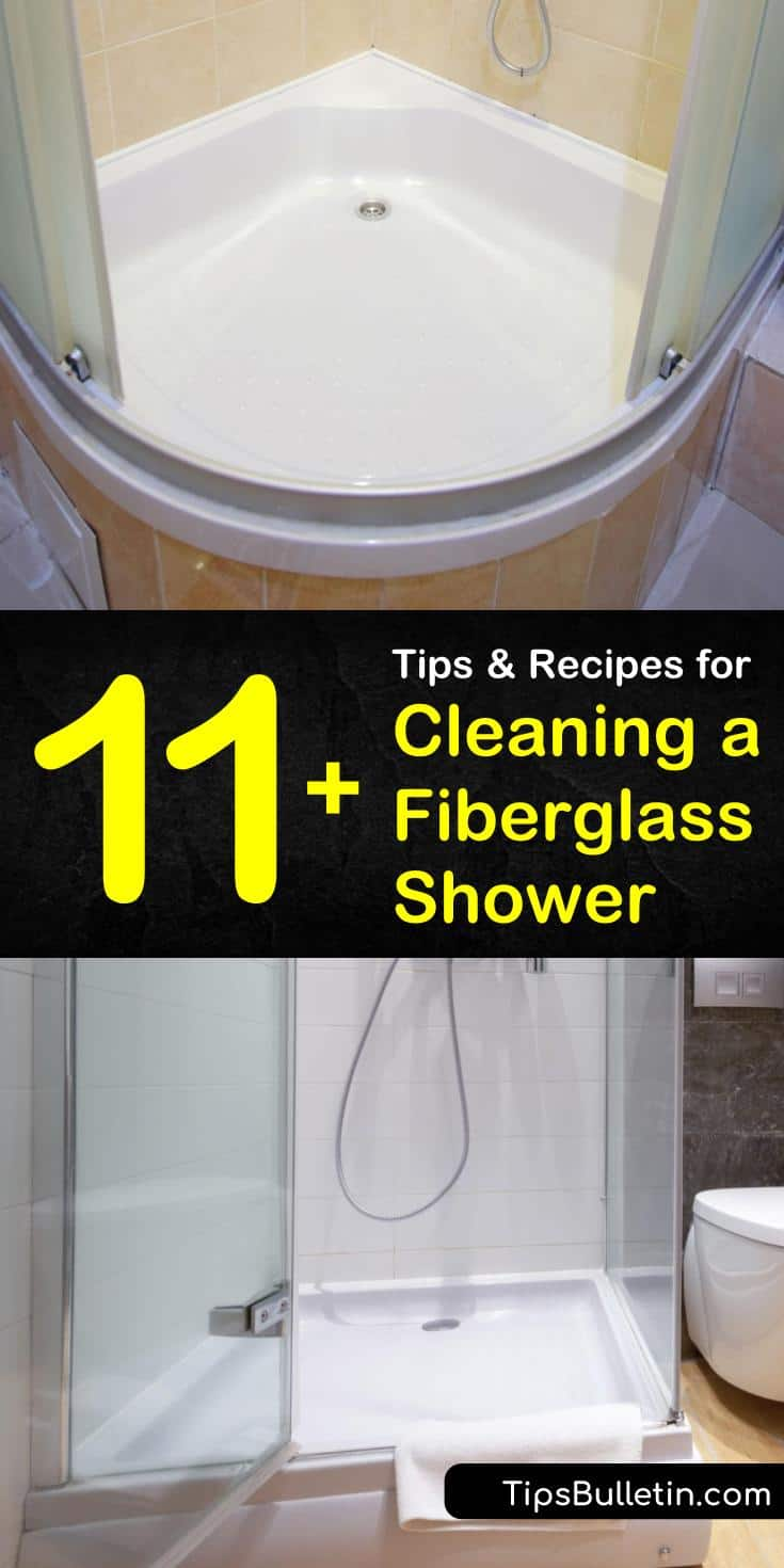 Find out how to clean a fiberglass shower without damaging it. Our guide helps you get rid of mold and soap scum on your glass door and shower pan using a DIY cleaner and elbow grease. #cleaningfiberglass #shower #fiberglass