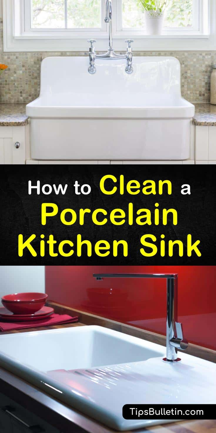 Try the tips and tricks for how to clean a vintage porcelain sink in this guide. By using vinegar mixed with baking soda and other cleaning solutions, you can get your old farmhouse sink back to white in no time. #porcelainsink #cleaning #kitchencleaning