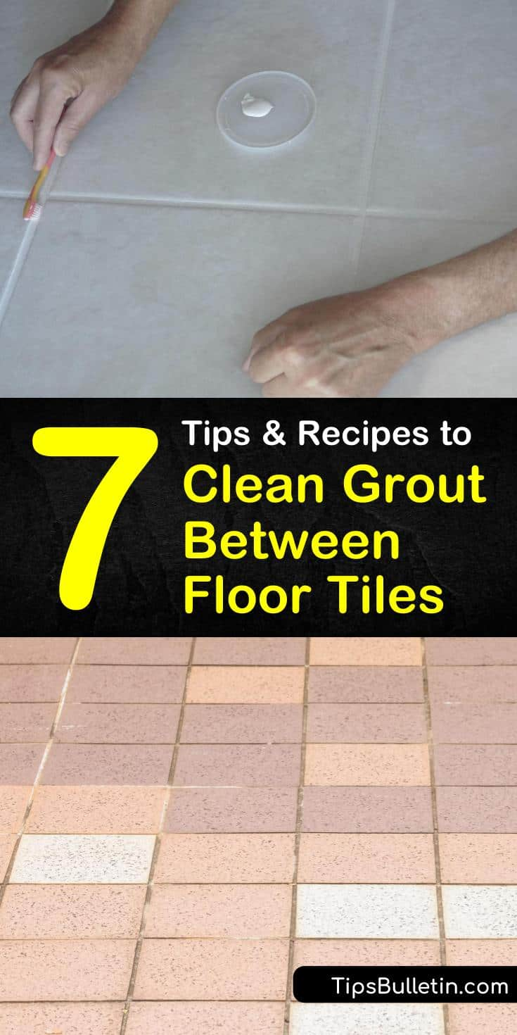 Cleaning grout on tile floors is easy to do using the right grout cleaner. Learn how to make a cleaning solution of warm water and white vinegar and a toothbrush to remove grime and mildew from floor tile grout. #cleaning #floortilegrout #cleangrout