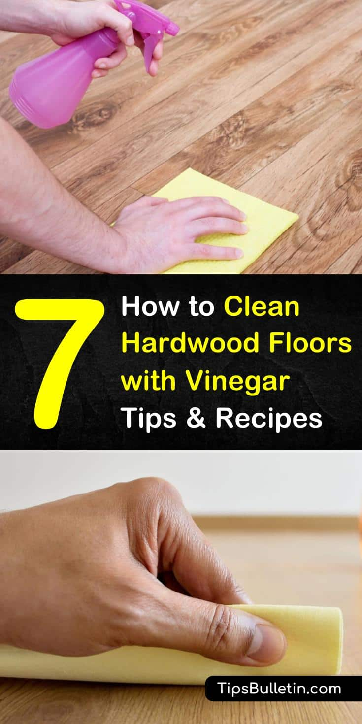 Mopping a hardwood floor doesn't have to be a chore. You can make a DIY hardwood floor cleaner using a natural cleaning solution to bring back its luster. Use vinegar and a microfiber mop to clean hardwood floors with ease. #cleanhardwoodfloor #hardwoodfloorcleaner #vinegarcleaner