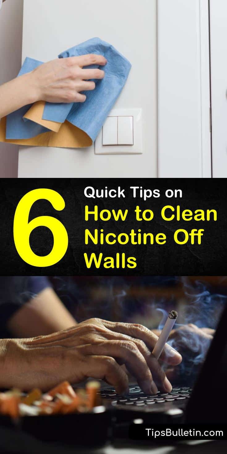 Nobody wants to deal with smoke stained walls, nor do they want to always repaint. We teach you how to remove unsightly nicotine stains using common ingredients like vinegar, baking soda, and dish soap. #cleannicotine #cleanwalls #cleaningsmokeoffwalls