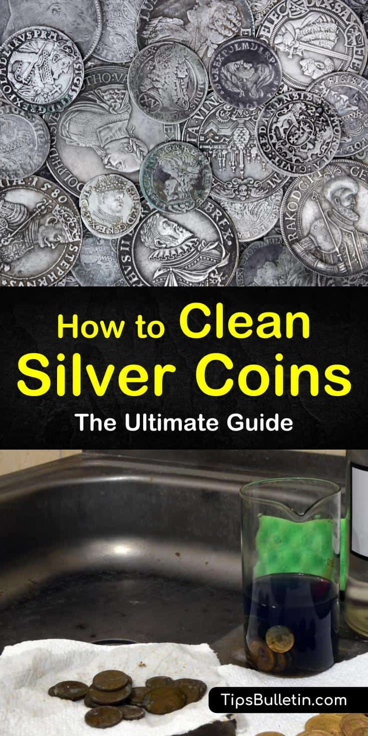 Turn your dull silver coins back into their original shine and luster by cleaning them with baking soda, toothpaste, or vinegar. Remove tarnish from coins by using electrolysis or with aluminum foil and baking soda. #silvercoin #cleaning #coin #silver #coin
