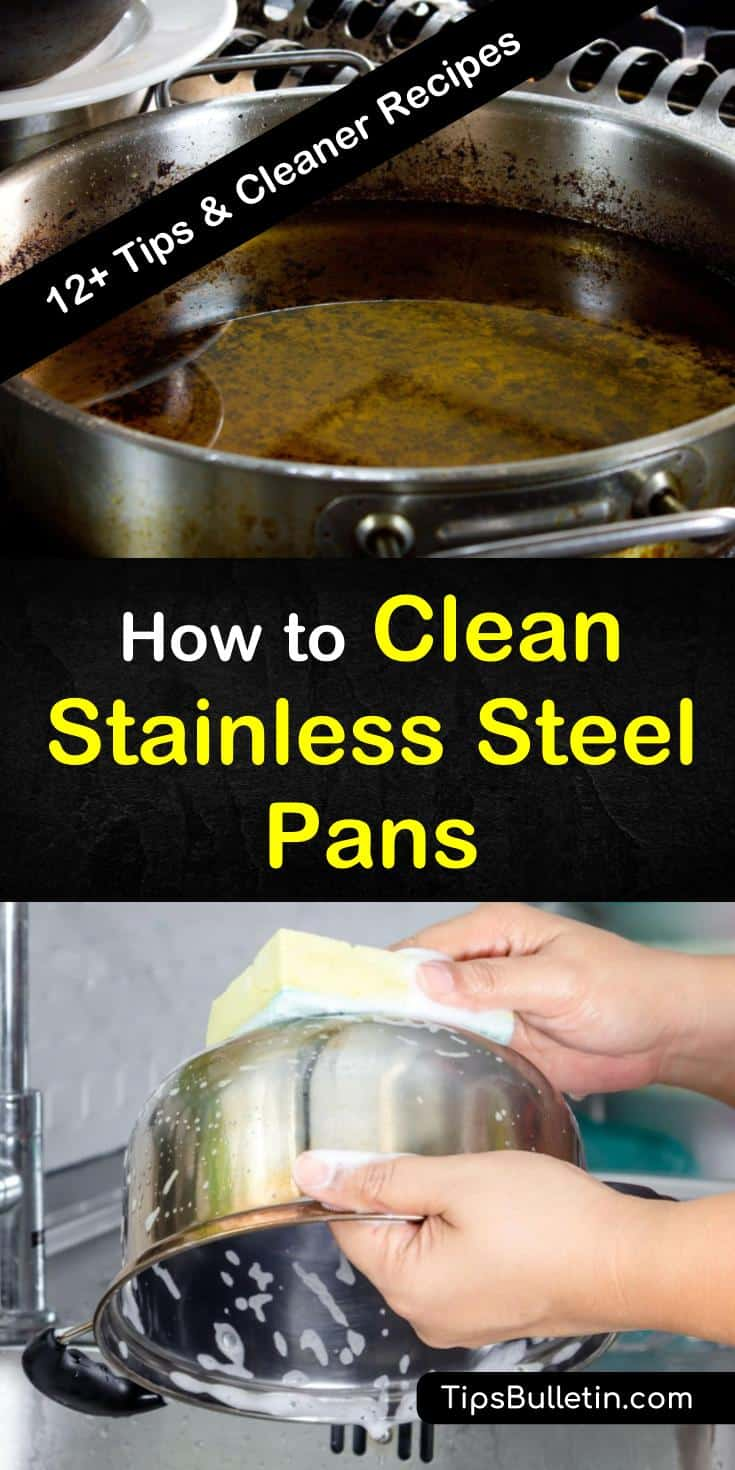 Discover how to clean stainless steel pans without damaging the non-stick surface. Use natural, non-toxic cleaners like baking soda, vinegar, and lime to lift grease from the bottom of your pans. Try these solutions for how to remove burn marks and stuck-on foods easily. #clean #stainlesssteel #pans