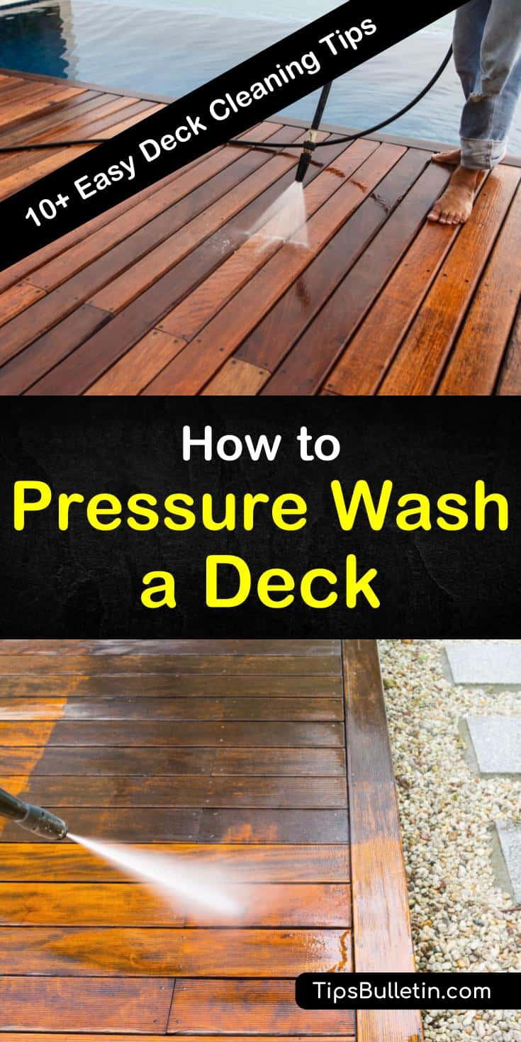 Find out how to pressure wash a deck with our handy cleaning guide, and make your deck look like new again. We help you keep your deck looking beautiful using soap, water, a pressure washer, and a little elbow grease. #pressurewash #deckcleaning #deck