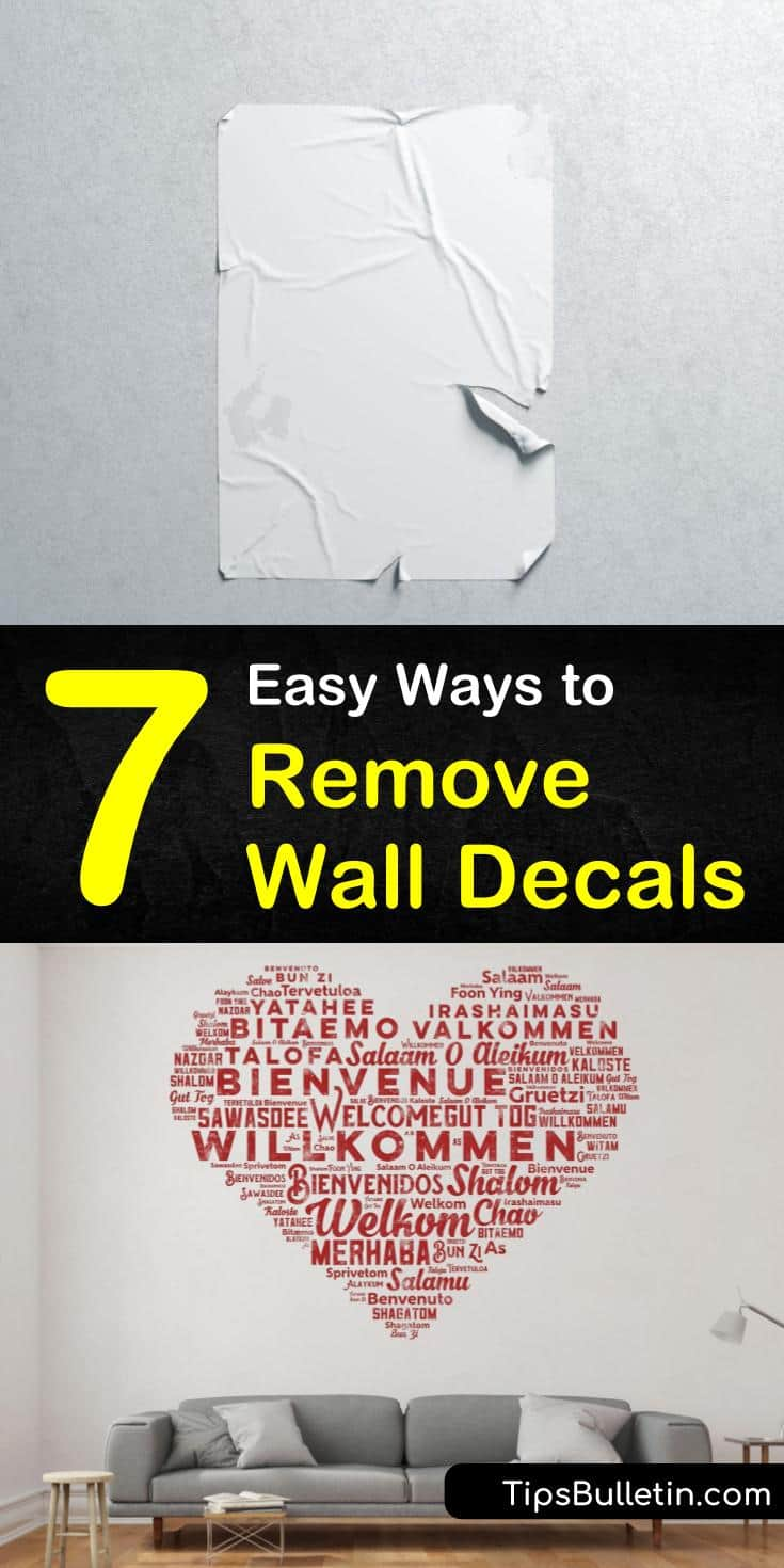 Need to know how to remove wall decals without damaging the surface of your wall? Try these amazing methods for removing vinyl wall decals and stickers from your walls. Keep the paint job on your wall safe using careful methods like heat and oil to eliminate sticky residue. #remove #wall #decals