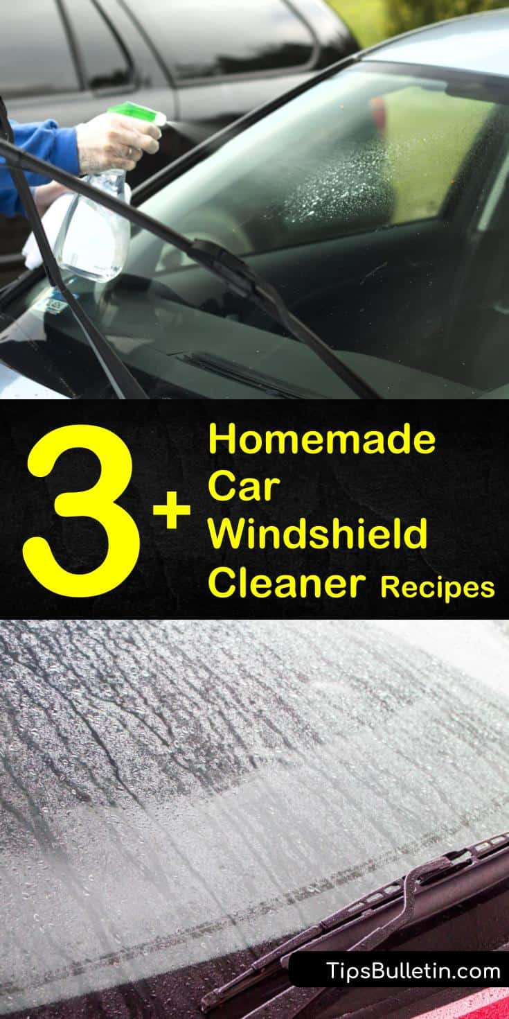 Try these homemade car windshield cleaner recipes for hand washing or filling the fluid reservoir. Learn how to make a glass cleaner using natural ingredients like vinegar or lemon juice. Add rubbing alcohol as the best way to keep your washer fluid from freezing. #homemade #car #windshield #cleaner