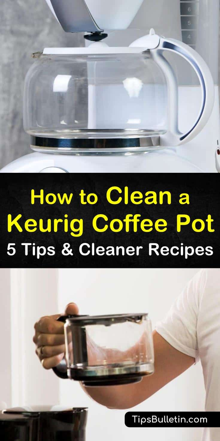 Discover how to clean a Keurig coffee pot with vinegar and baking soda. Our guide shows you the best way to get your coffee maker and glass free of stains and ready to wake you up and get you going. #keurig #coffeemaker #descaling #cleaningkeurig