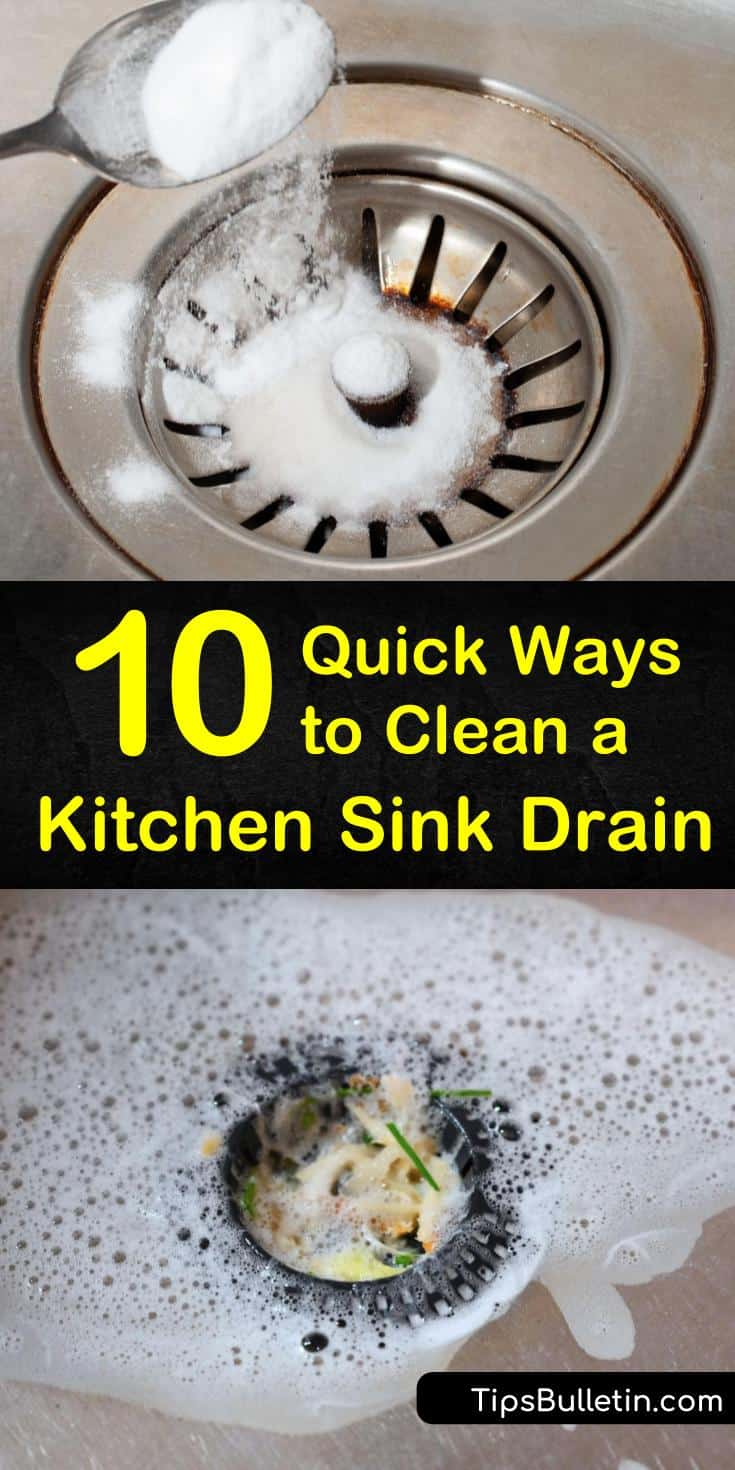 Not only do you need to clean your stainless steel sink, but you also need to clean the drain, too. Use household items like vinegar and baking soda to clear, clean, and deodorize the smelliest of drains. #cleankitchendrain #smellydrain #cleansinkdrain