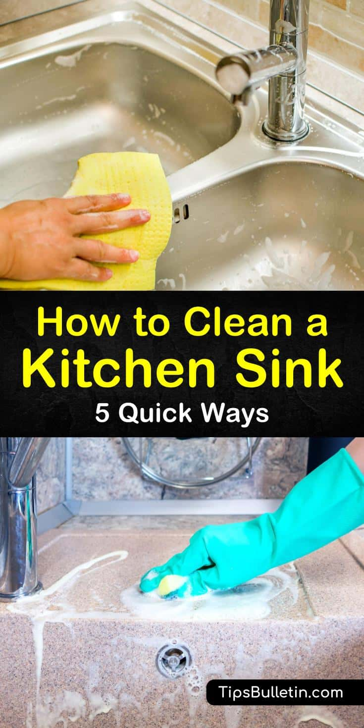 Discover how to clean a kitchen sink with our guide. We show you how to use baking soda and other cleaners to get your porcelain, ceramic, and stainless steel drains and pipes looking like brand new. #kitchensink #cleansink #kitchensinkcleaner