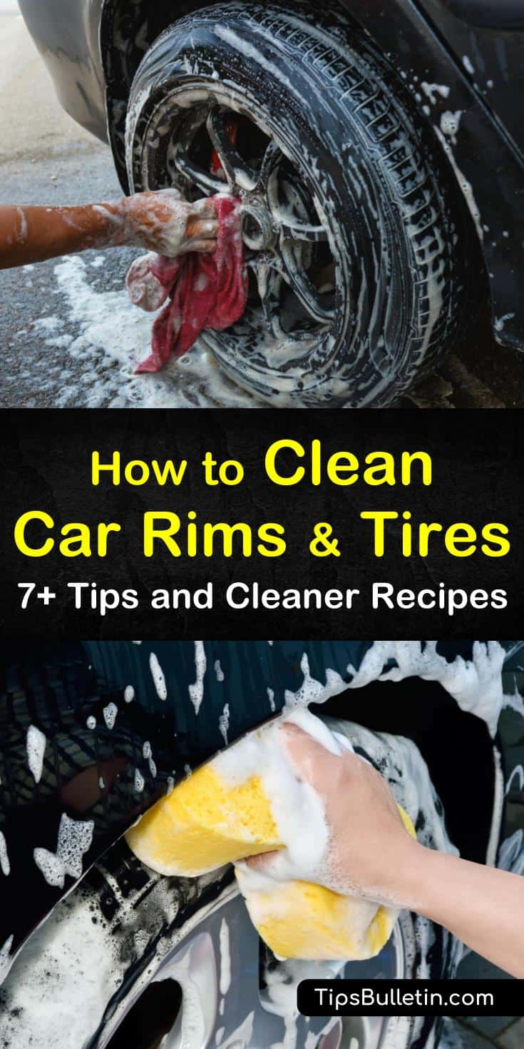 Learn from our DIY car rim and tire cleaning tips and recipes that show you how to clean alloy, aluminum, and chrome wheels in a few simple steps. Clean wheels using a synthetic cleaner or use lemon juice and vinegar. #cleancarrims #wheelcleaner #tirecleaner #rims #tires