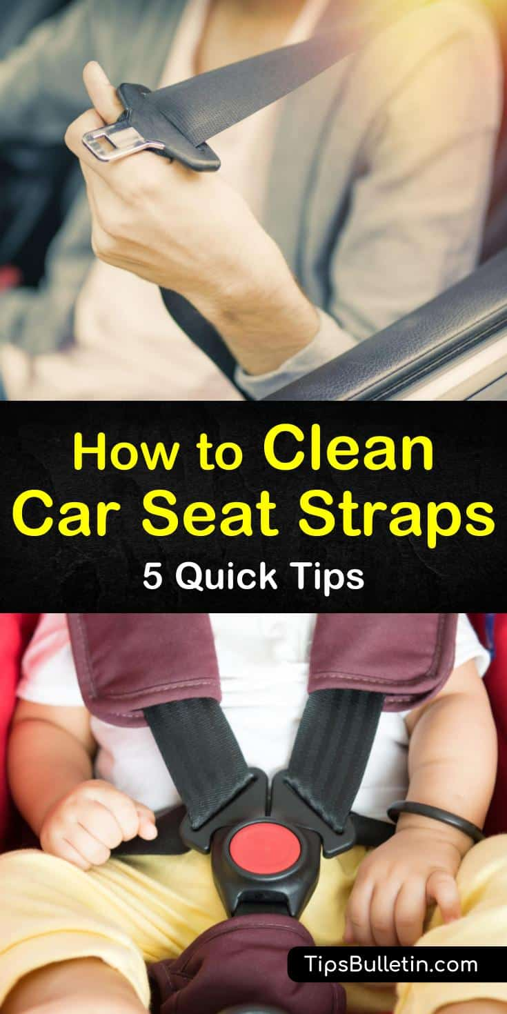 Learn how to clean seat belts and straps in the car, infant seat, and stroller using gentle cleaning products. Remove dirt and germs from seat harnesses safely using baking soda, mild soap, and baby shampoo. #carseatstrapcleaner #seltbeltcleaner #cleancarseatstraps