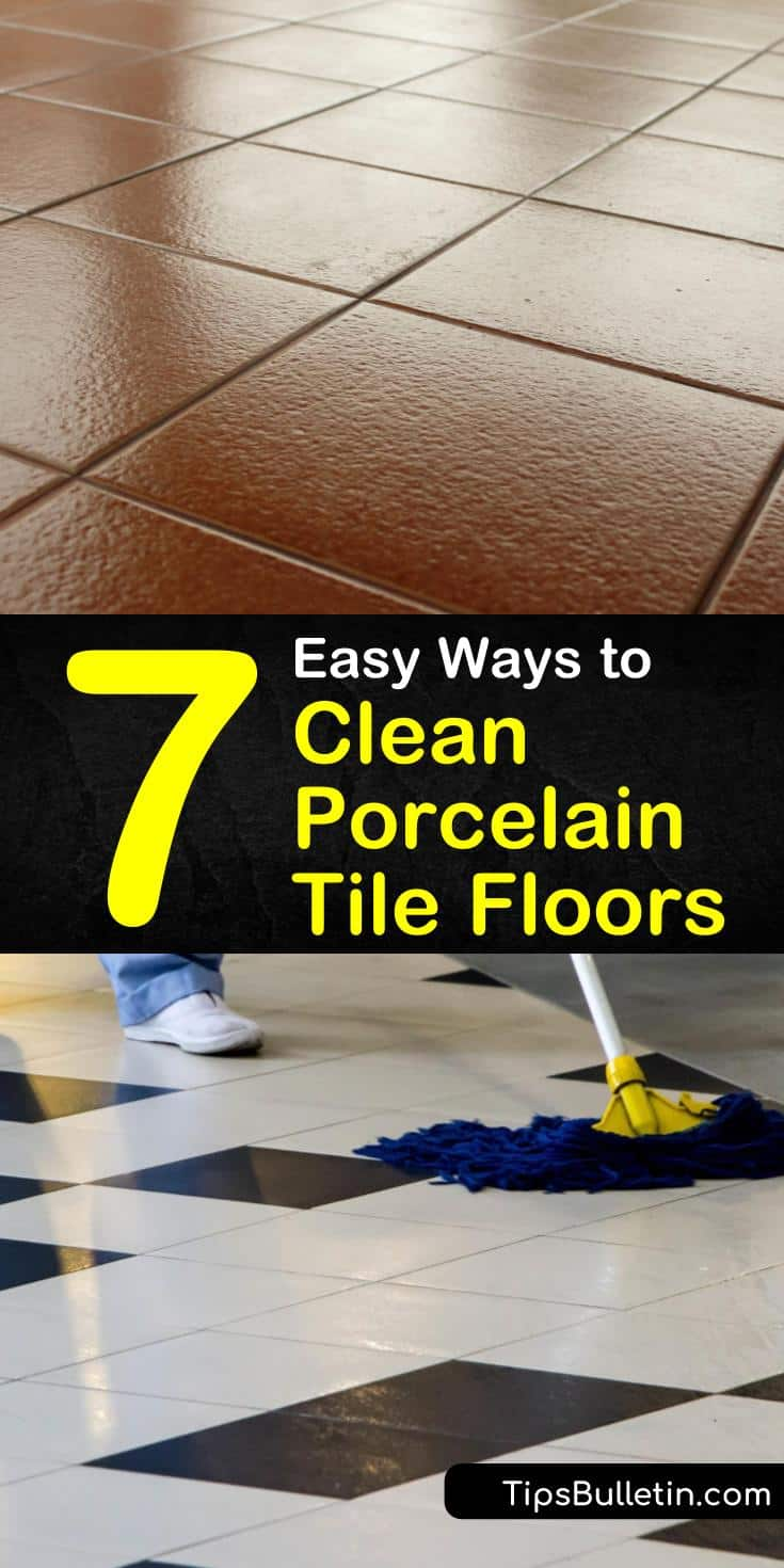 Learn how to clean porcelain tile floors in kitchens using mild cleaners such as vinegar. Clean porcelain tile grout on the bathroom floor using a baking soda solution. #cleaningporcelain #tilefloors #cleanporcelaintile