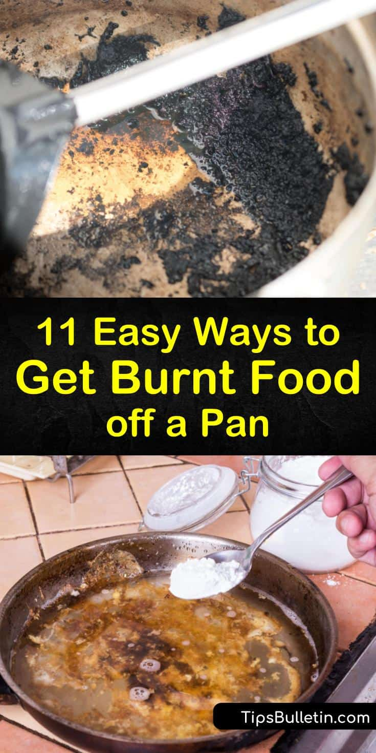 Unsure about how to get burnt food off a pan? These easy tips will clean your cookware without scrubbing with harsh abrasives. Try natural solutions like baking soda, white vinegar, and lemon to lift away burnt on food particles without scratching the pan's surface. #burnt #food #pan #pot