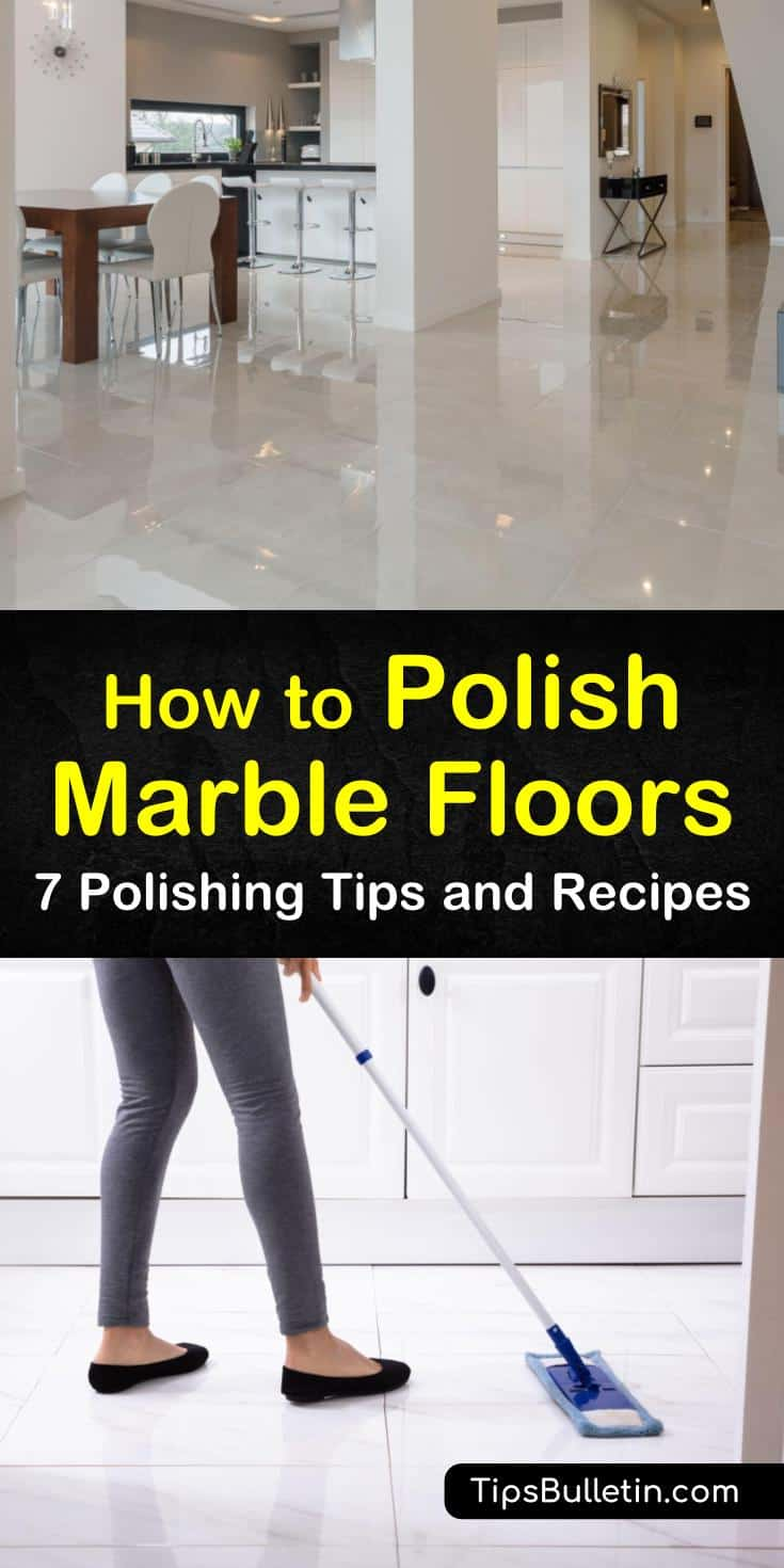 Discover the secrets to keeping your marble flooring full of luster and shine, whether you have marble in the kitchen, living room, or bathroom. Use a DIY marble polish to restore your floors to their natural state of beauty. #polishmarblefloors #homemademarblepolish #polishmarble