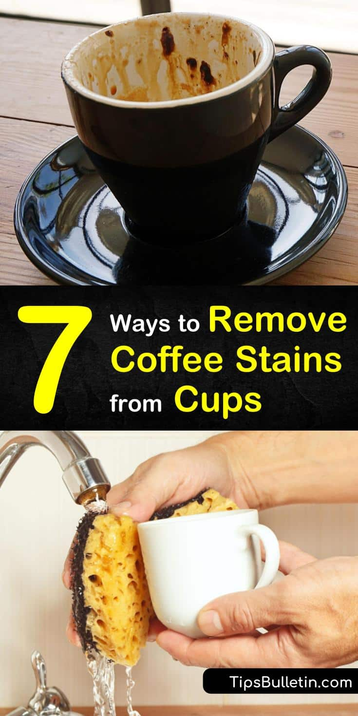 You can remove coffee stains from your stainless steel, ceramic, or plastic coffee cup using simple ingredients. Our cleaning methods use baking soda, white vinegar, and even denture tablets to remove coffee stains. #removecoffeestainsfromcups #coffeecupstainremover #stainedcup #removecoffeestains
