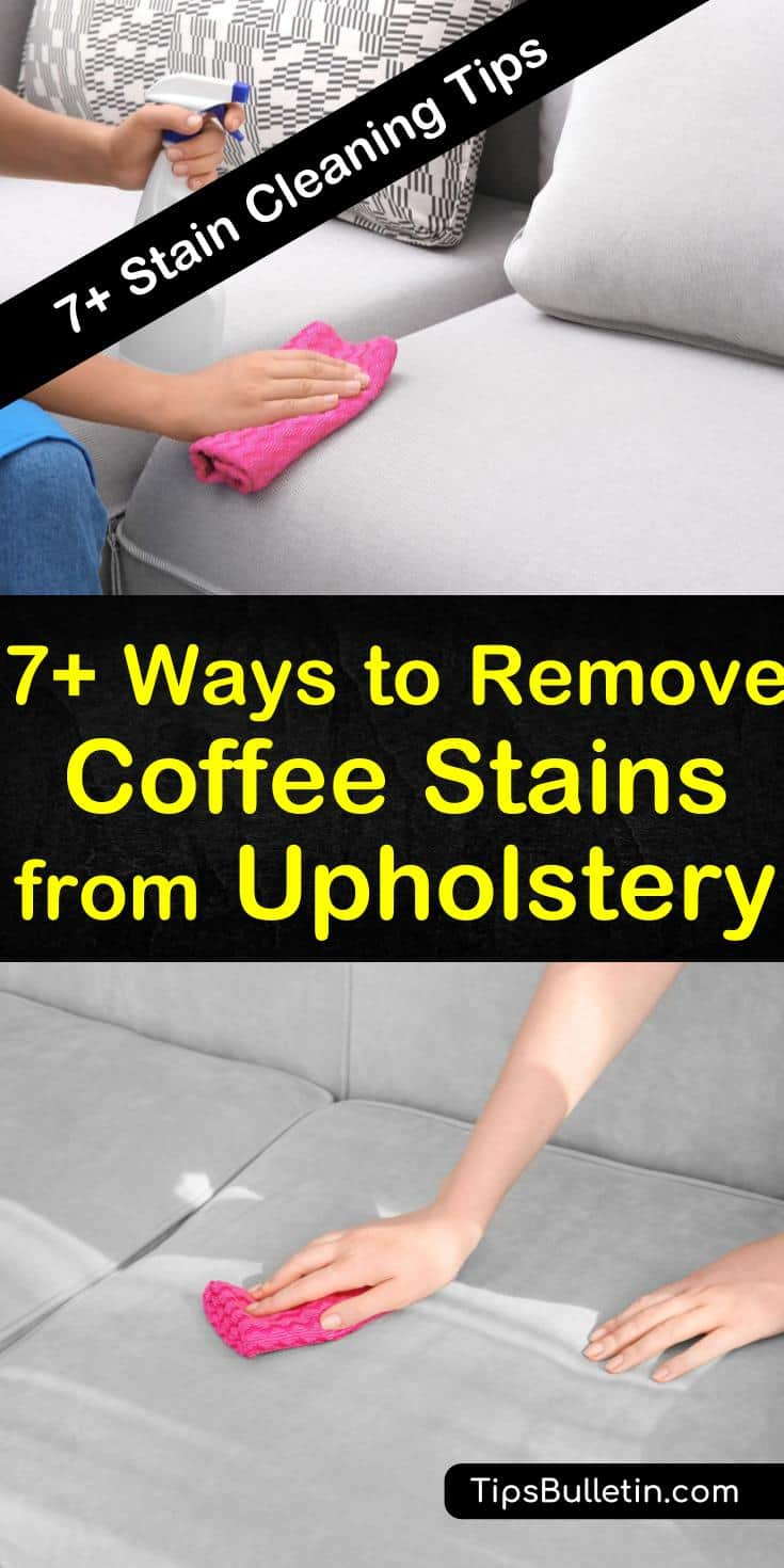 Learn how to remove coffee stains out of the car seat and furniture upholstery using natural and inexpensive ingredients. Clean stains with club soda, dish soap, baking soda, white vinegar, and other household items. #removecoffee #cleancoffeestains #upholstery