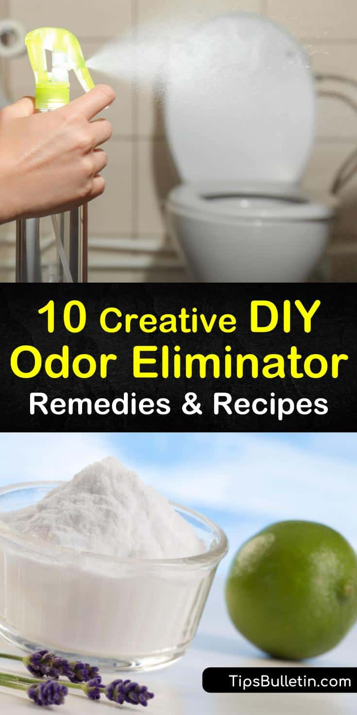 Learn how to get rid of stinky smells in trash cans and other areas of your home. Make a DIY odor eliminator with baking soda and an air freshener with peppermint or lemon essential oil for deodorizing a smelly room. #diyodoreliminator #diyairfreshener #getridofsmells