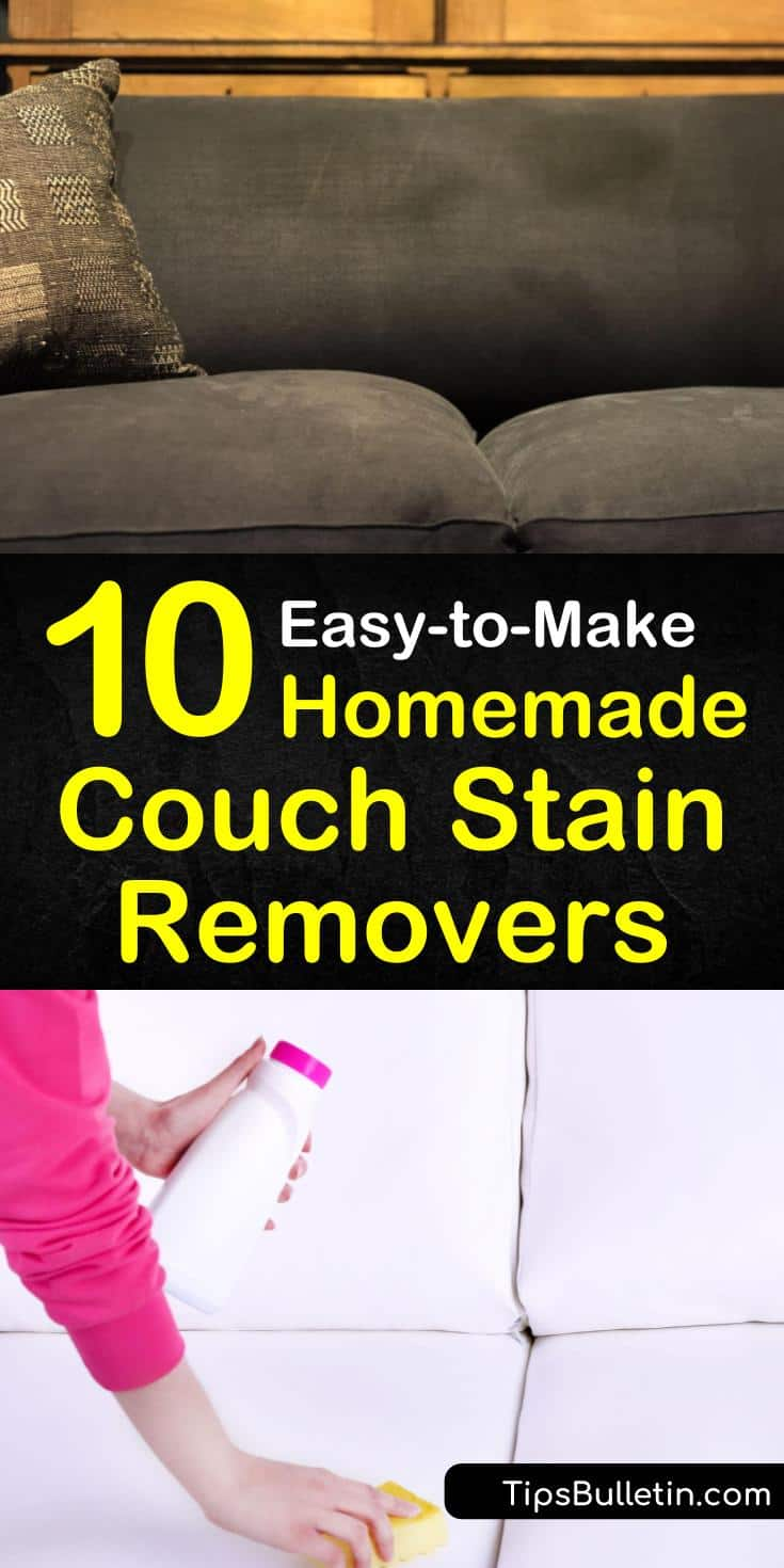 The best upholstery cleaning products for microfiber, leather, and other fabrics use household ingredients like white vinegar, baking soda, dish soap, and warm water. Learn how to use these ingredients to spot clean the toughest stains. #couch #couchstainremover #removecouchstains