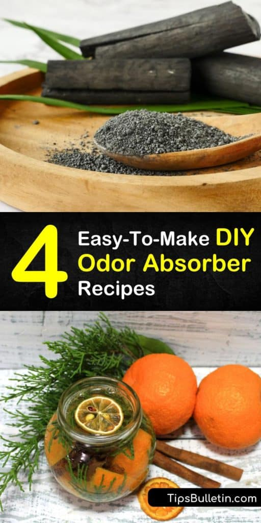 Try these amazing homemade odor absorber recipes and tips to keep your home smelling great. Discover natural deodorizer sprays and powders using white vinegar or your favorite essential oil. Get rid of stinky odors for good with charcoal deodorizing ideas. #homemade #odor #absorber #deodorizer