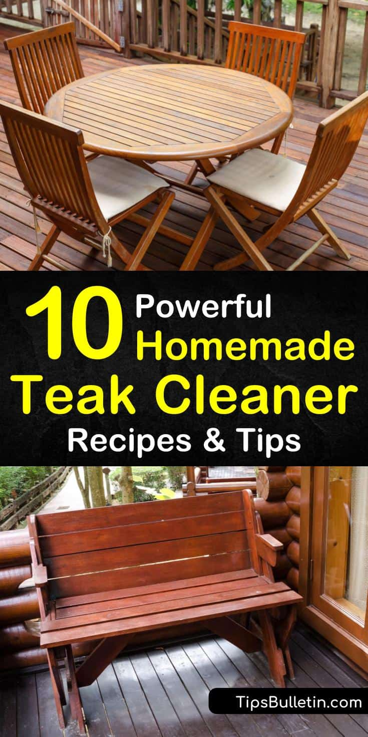 Make a homemade cleaning solution to clean outdoor furniture made of teak wood. Clean teak furniture using laundry detergent, white vinegar, bleach, or another teak cleaner along with a little bit of scrubbing action. #DIYteakcleaner #cleanteak #teak #wood