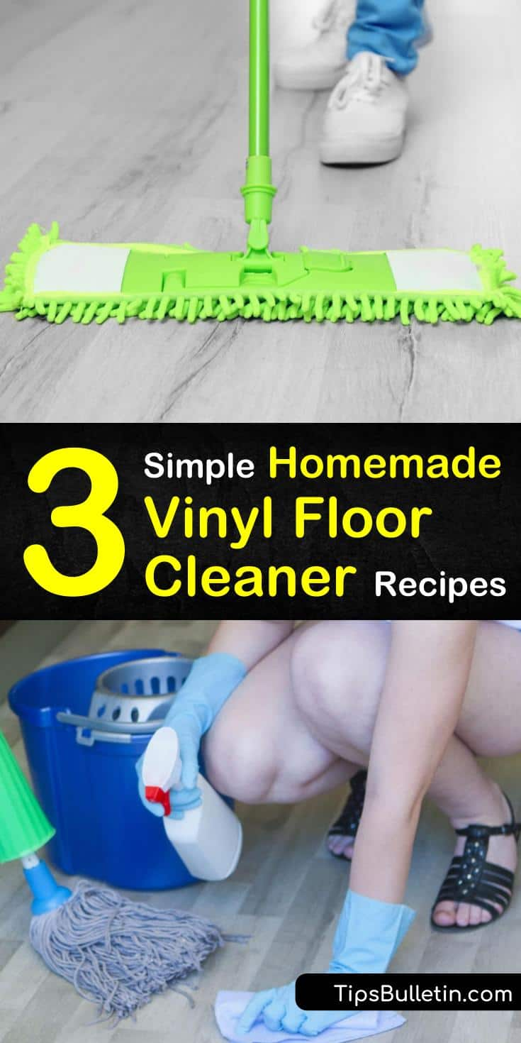 Discover simple DIY vinyl floor cleaning recipes that are perfect for kitchens and bathrooms. These homemade cleaners use simple household ingredients like white vinegar and baby oil to get your floors shinier than ever. #vinylcleaner #diyvinylcleaner #cleanvinyl