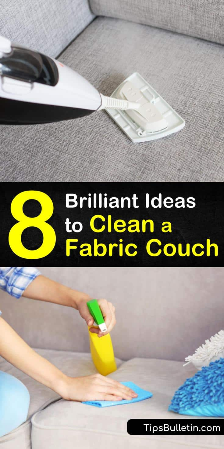 Learn how to clean a fabric couch using natural cleaning solutions like white vinegar and baking soda. Use a steam cleaner to deep clean a fabric sofa and vacuuming for basic maintenance. Discover new DIY spot treatments for stains on your microfiber couch. #clean #fabric #couch #deepclean #stains
