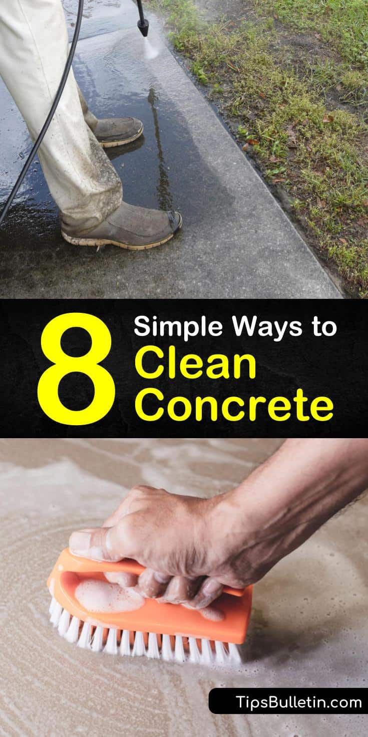 Learn how to maintain concrete floors with sealer and regular cleaning. Remove everyday grime and rust stains off of concrete by using a bleach cleaning solution and a stiff bristle scrub brush or power washer. #howtocleanconcrete #cleaningconcrete #cleanconcrete