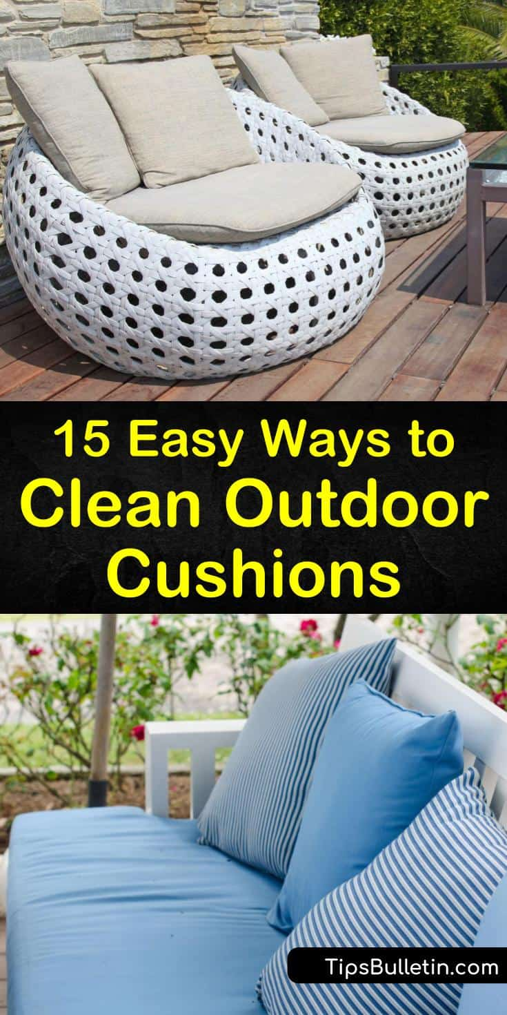 Learn how to use bleach, warm water, and other household ingredients to create a cleaning solution for outdoor furniture. Using a scrub brush and spray bottle, we show you how to correctly clean and air dry your patio cushions. #outdoor #cushion #cleaningpatiocushions