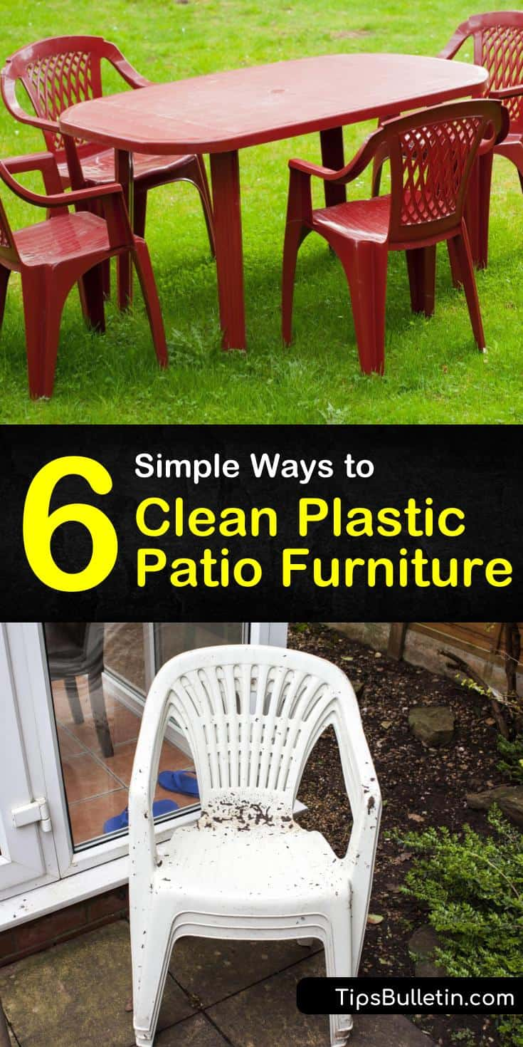 Learn how to clean plastic or resin furniture using a cleaning solution of white vinegar, baking soda, and warm water. Use a sponge for scrubbing and avoid using steel wool to clean your patio furniture to prevent scratching. #plasticpatiofurniture #cleaning #patio