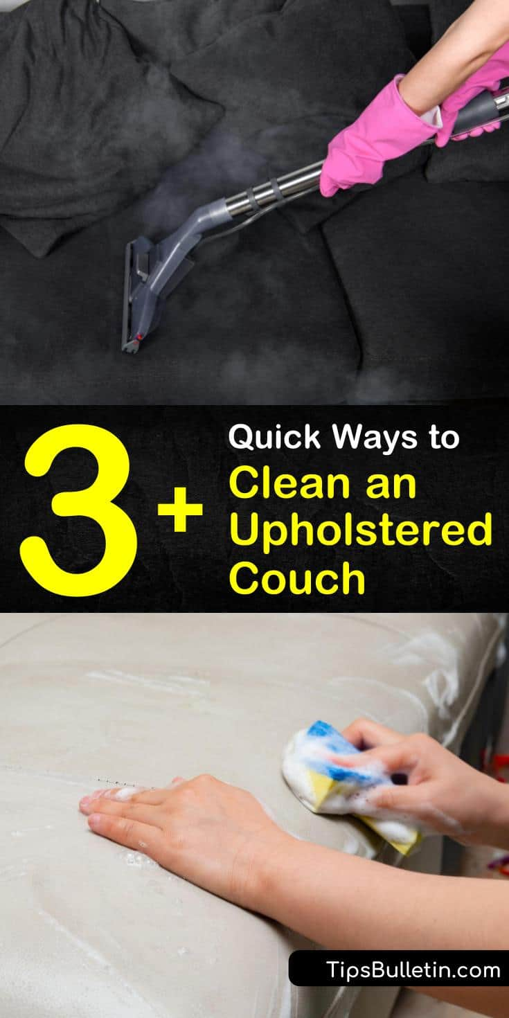 Learn how to clean sofa upholstery at home using natural cleaning solutions and a steam cleaner. Make DIY cleaning products using warm water, baking soda, and white vinegar to clean fabric and leather. #cleanupholstery #home #upholsterycleaning