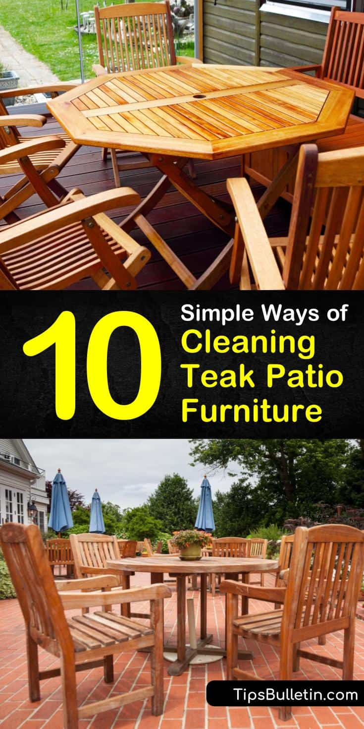 Learn how to clean teak furniture using products like bleach, vinegar, and commercial teak oil. Discover how to restore graying patio furniture by sanding or using products like TSP. Restore and protect damaged wood furniture by using teak oil on the surface. #clean #teak #furniture #patio #outdoor