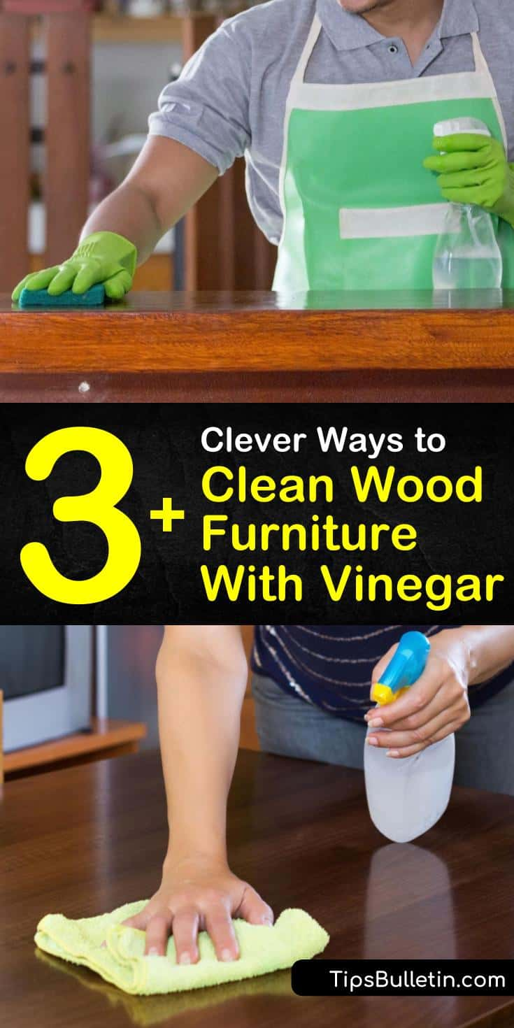 Learn how to clean wood furniture with vinegar to remove stains and grime. After dusting, cleaning wood with homemade furniture polish and a soft cloth made of microfiber helps wood stay beautiful naturally. #woodfurniture #cleaningwithvinegar #cleanwood