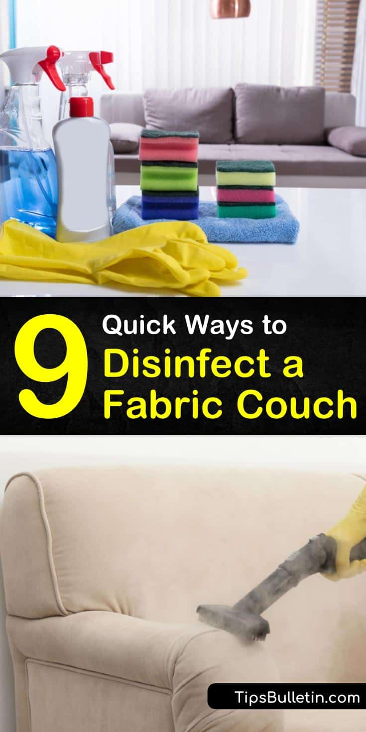 Learn which cleaning solutions to use when sanitizing your leather, suede, or fabric sofa. After vacuuming, use white vinegar, warm water, baking soda, dish soap, and other cleaning products for disinfecting your couch. #disinfectcouch #sanitizeasofa #sanitizecouch