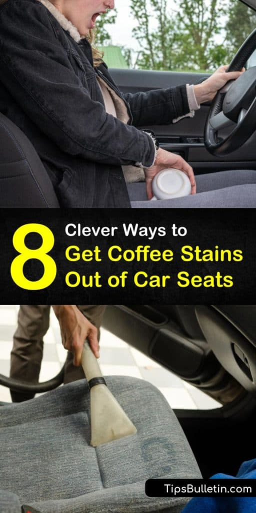 Follow these tips for how to get coffee stains out of car seats, whether treating fresh or set-in stains. Remove stubborn spots from upholstery using vinegar, lemon juice, or club soda. For store-bought cleaners, baby wipes and glass cleaner work wonders on coffee spills. #coffee #stains #car #seats