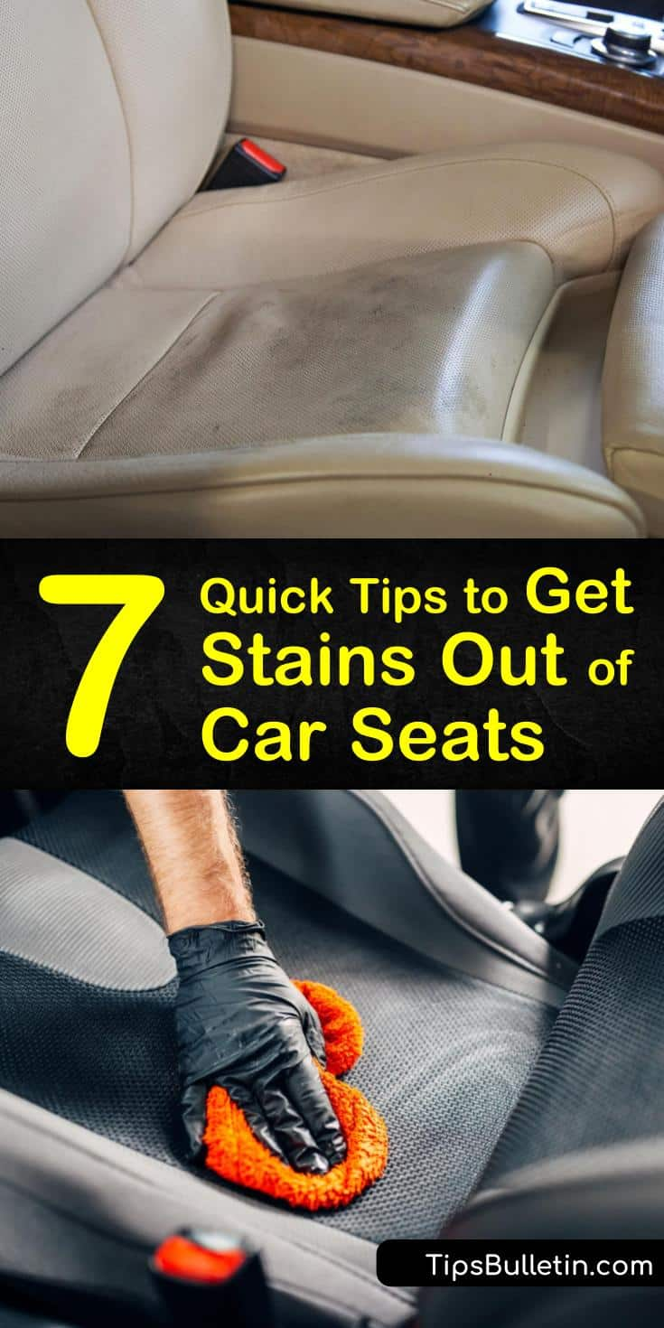 Let us show you how to remove stains your kids left on your car's upholstery with common household products. See how to use white vinegar and baking soda to clean and remove stains from fabric and leather seats. #carseatstains #car #stains