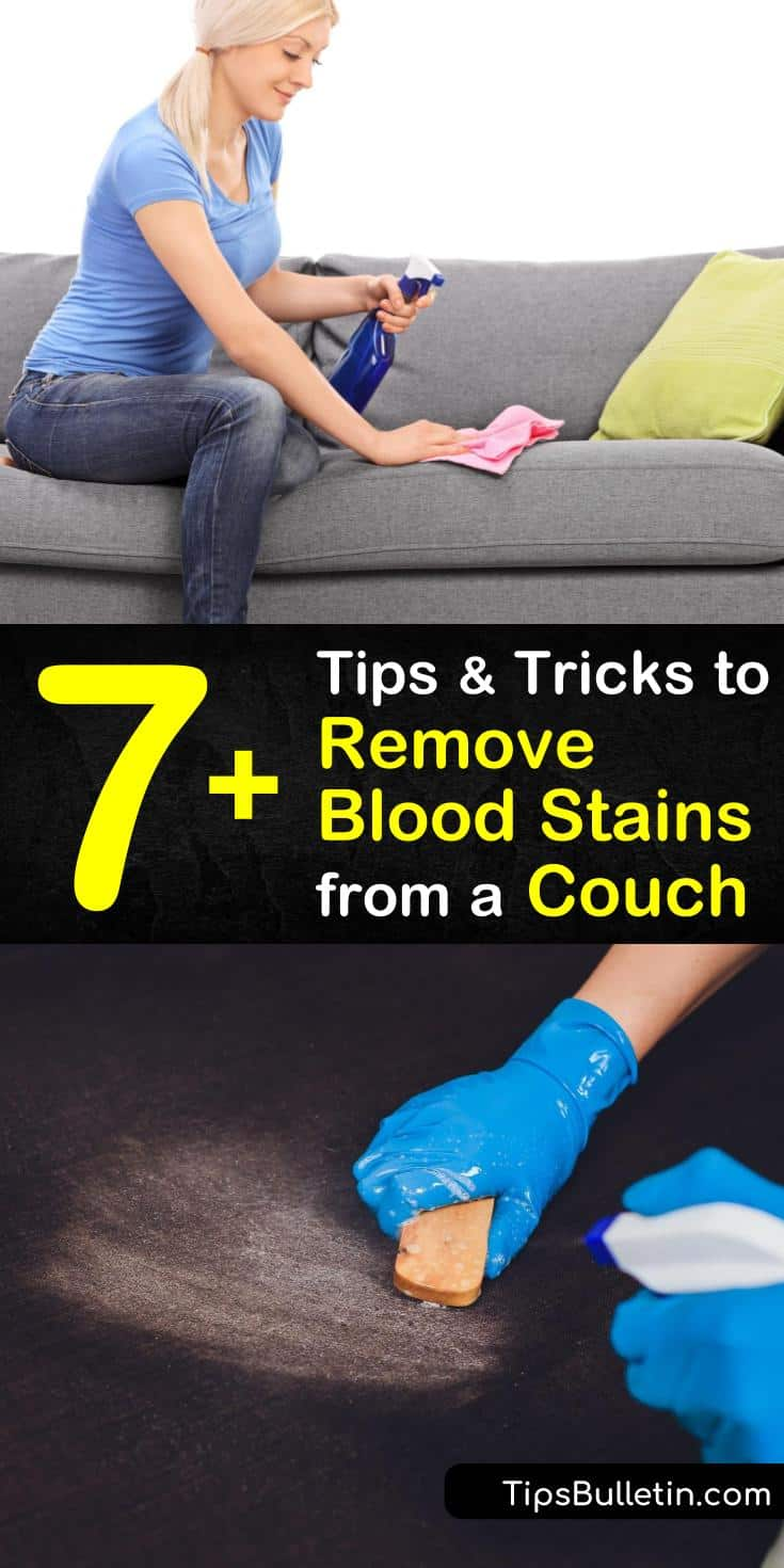 Learn blood stain removal tips for cleaning old stains using a toothbrush, hydrogen peroxide, and bleach. Clean fresh blood stains by rinsing the area immediately with cold instead of hot water and clean with an upholstery cleaner. #cleanbloodoffsofa #cleanblood #couch