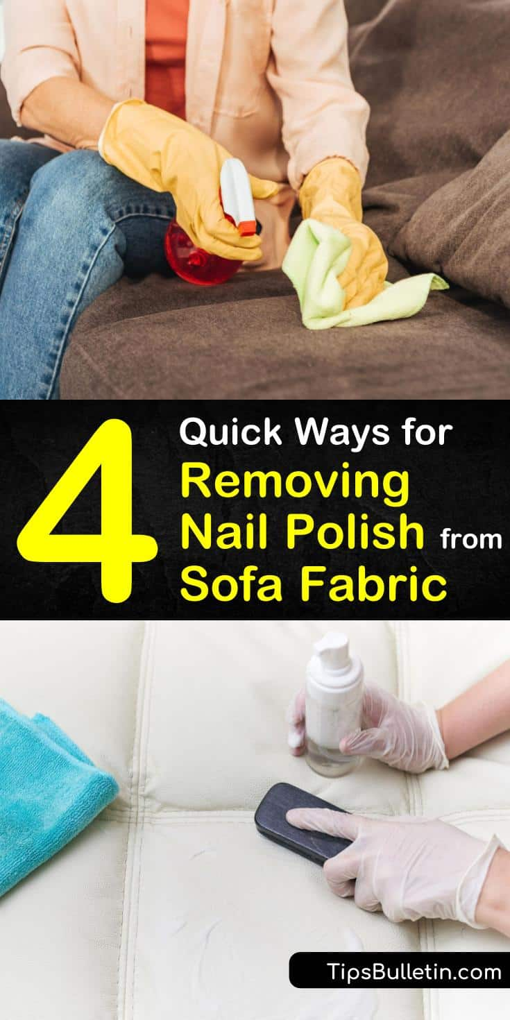 Learn how to remove fingernail polish by blotting with paper towels and treating the stain using household cleaners. Clean away fingernail polish with non-acetone polish remover, rubbing alcohol, and hairspray. #couch #nailpolish #remover